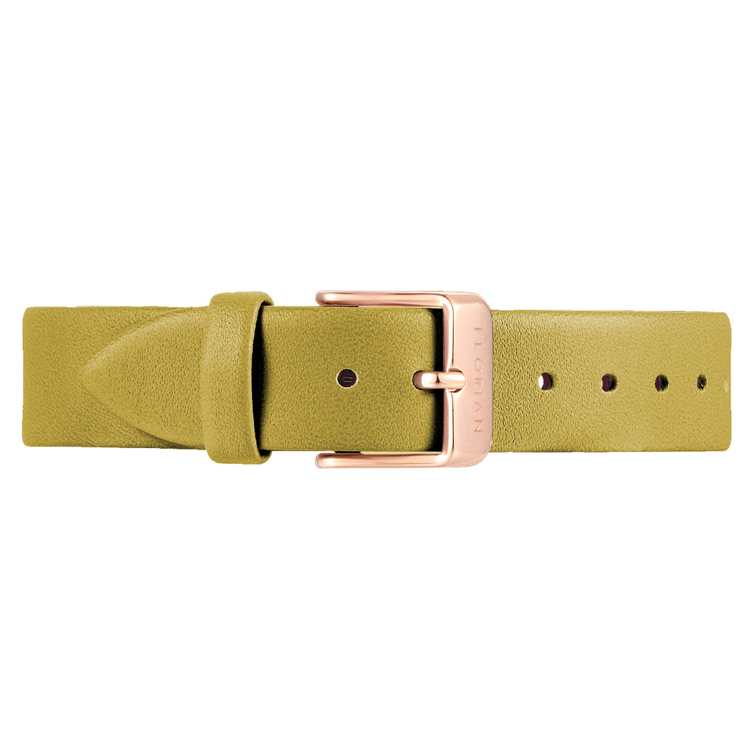 Classic Mustard Beige Leather Strap Rosy Gold Buckle | 16mm