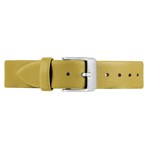 Classic Mustard Beige Leather Strap Silver Chic Buckle | 16mm