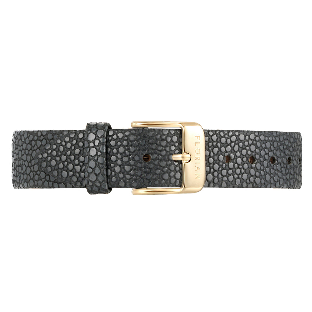 Classic Charcoal Grey Leather Strap Champagne Gold Buckle | 16mm