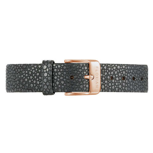 Classic Charcoal Grey Leather Strap Rosy Gold Buckle | 16mm