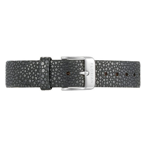 Classic Charcoal Grey Leather Strap Silver Chic Buckle | 16mm