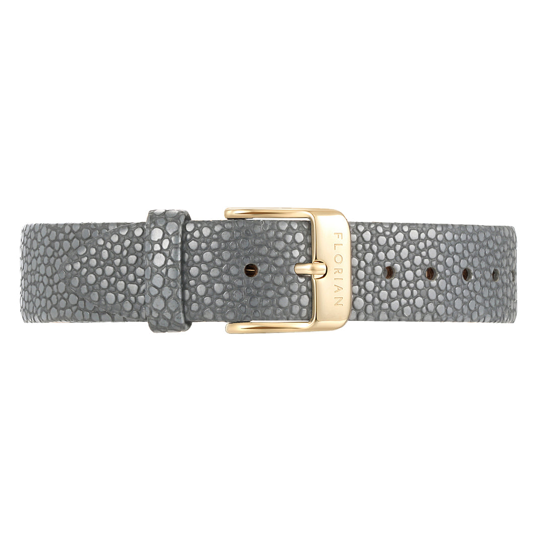 Classic Koala Grey Leather Strap Champagne Gold Buckle | 16mm