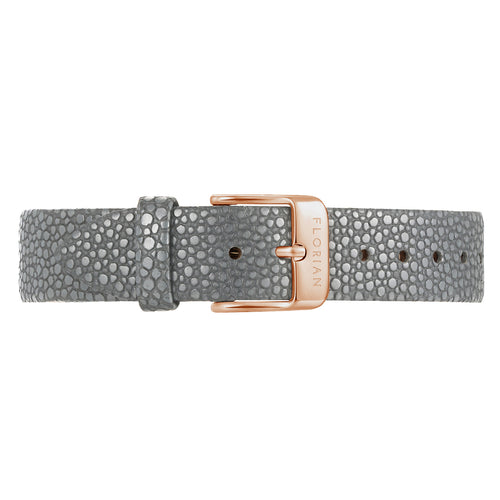 Classic Koala Grey Leather Strap Rosy Gold Buckle | 16mm