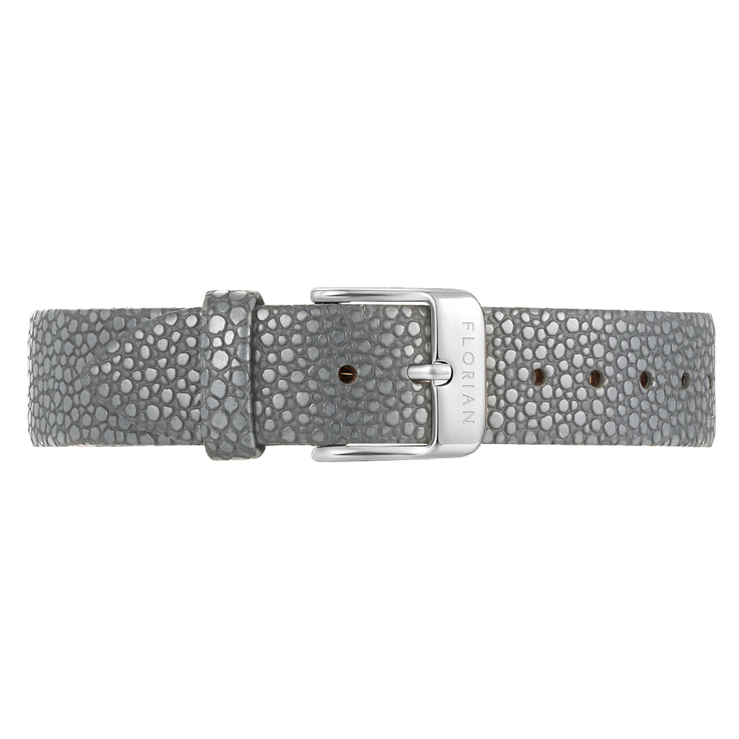 Classic Koala Grey Leather Strap Silver Chic Buckle | 16mm