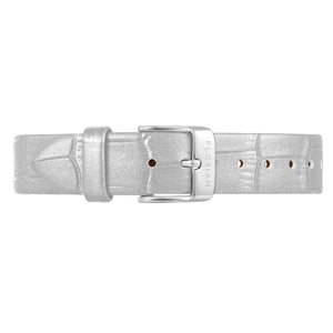 Classic Pearl White Leather Strap Silver Chic Buckle | 16mm