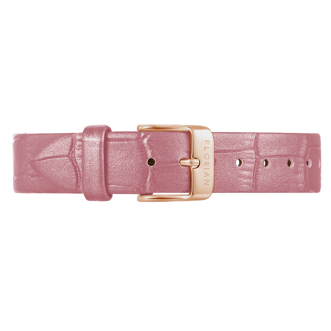 Classic Punchy Pink Leather Strap Rosy Gold Buckle | 16mm