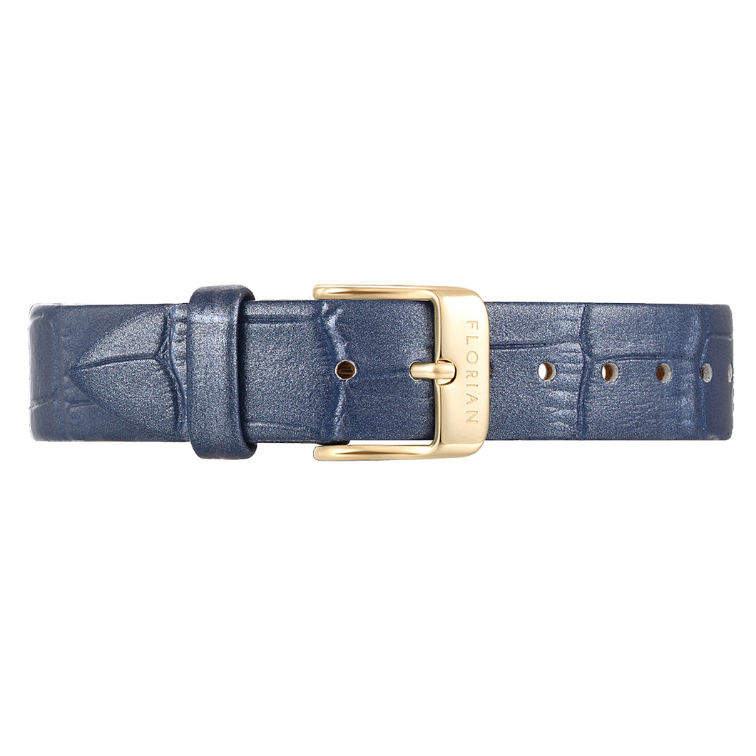 Classic Berry Blue Leather Strap Champagne Gold Buckle | 16mm