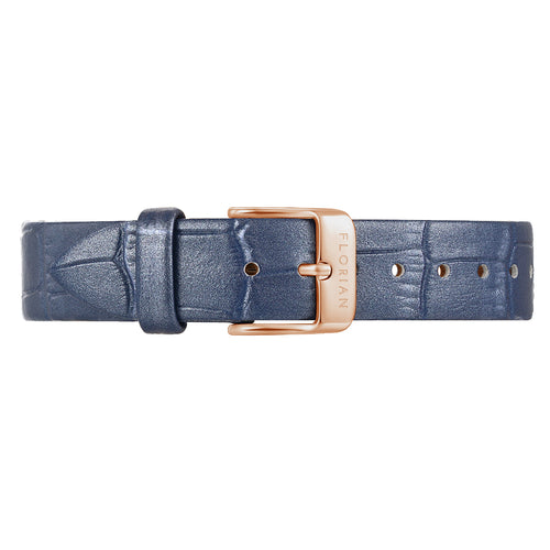 Classic Berry Blue Leather Strap Rosy Gold Buckle | 16mm