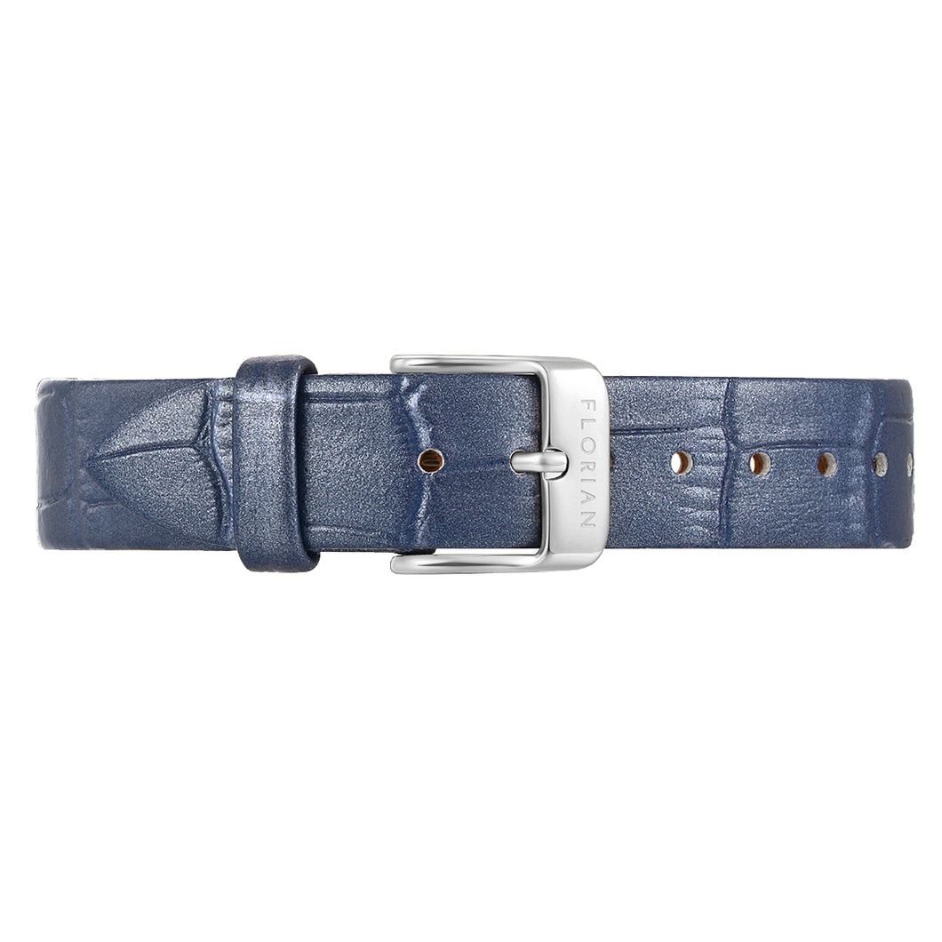 Classic Berry Blue Leather Strap Silver Chic Buckle | 16mm