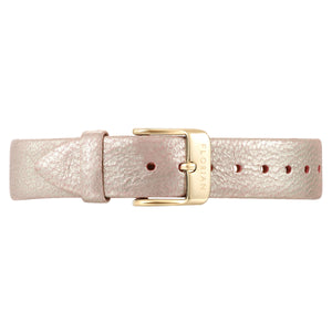Classic Shinny Pinky Leather Strap Champagne Gold Buckle | 16mm