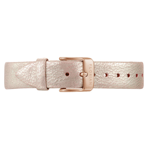 Classic Shinny Pinky Leather Strap | 16mm