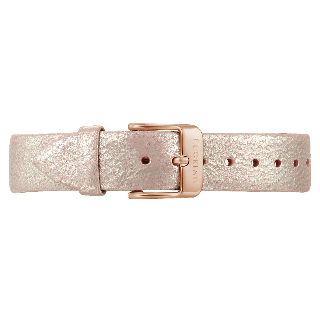 Classic Shinny Pinky Leather Strap Rosy Gold Buckle | 16mm