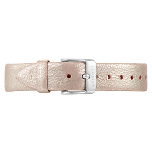 Classic Shinny Pinky Leather Strap Silver Chic Buckle | 16mm