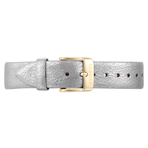 Classic Diamond White Leather Strap Champagne Gold Buckle | 16mm