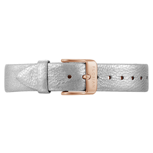 Classic Diamond White Leather Strap Rosy Gold Buckle | 16mm