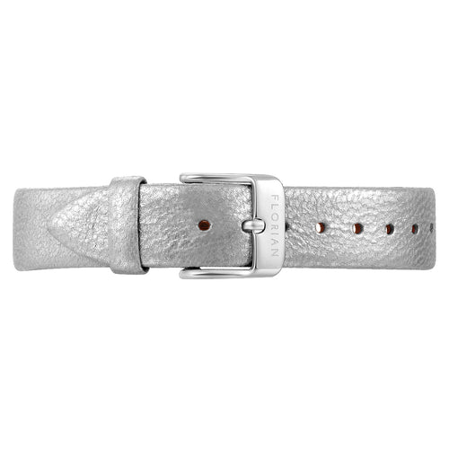 Classic Diamond White Leather Strap Silver Chic Buckle | 16mm