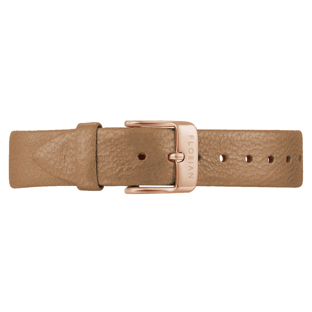 Classic Mirage Gold Leather Strap Rosy Gold Buckle | 16mm