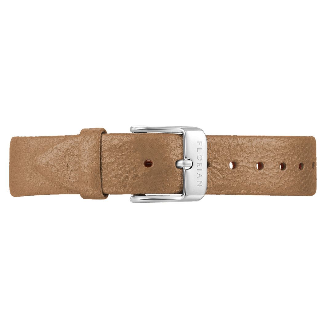 Classic Mirage Gold Leather Strap Silver Chic Buckle | 16mm