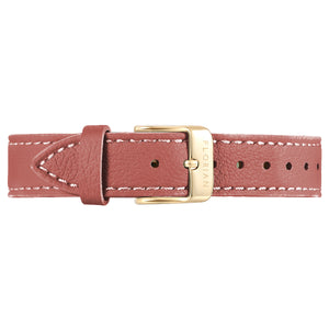 Classic Peachy Coral Leather Strap Champagne Gold Buckle | 16mm