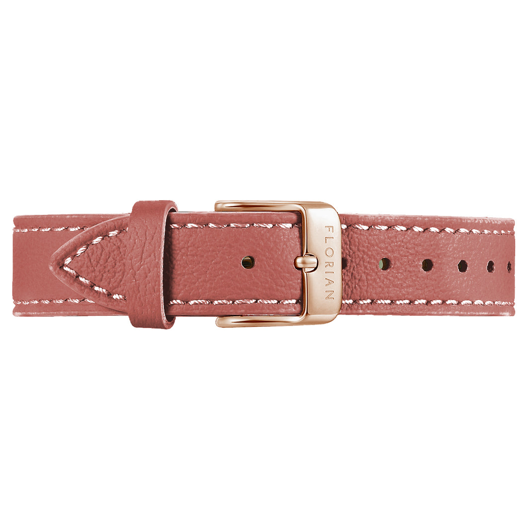 Classic Peachy Coral Leather Strap Rosy Gold Buckle | 16mm