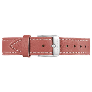 Classic Peachy Coral Leather Strap Silver Chic Buckle | 16mm