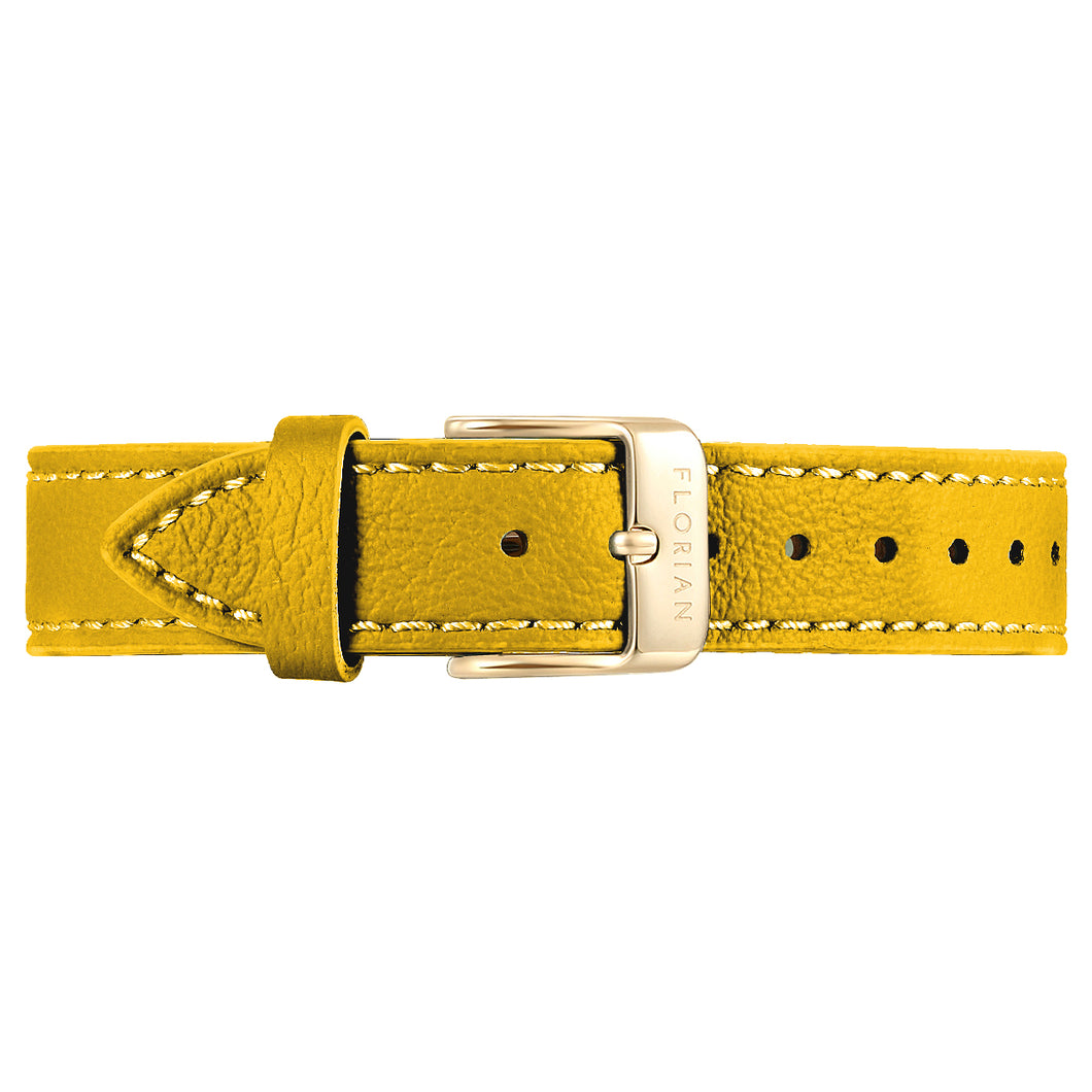 Classic Lemon Ambre Leather Strap Champagne Gold Buckle | 16mm