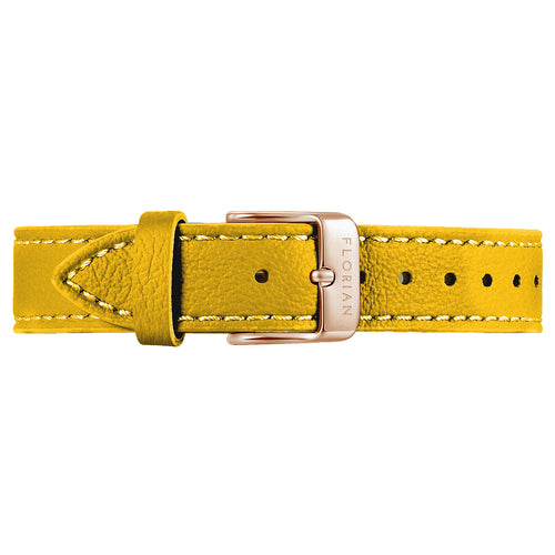 Classic Lemon Ambre Leather Strap Rosy Gold Buckle | 16mm