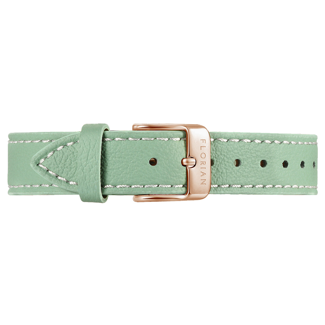 Classic Palm Green Leather Strap Rosy Gold Buckle | 16mm