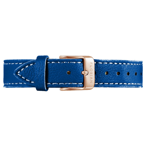 Classic Frenchy Blue Leather Strap Rosy Gold Buckle | 16mm