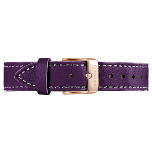 Classic Orchid Purple Leather Strap Rosy Gold Buckle | 16mm