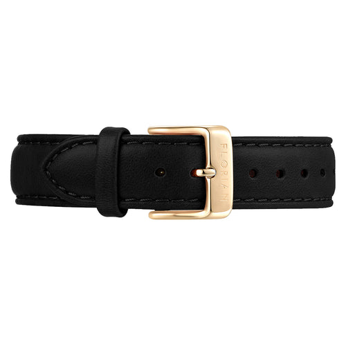 Classic Eagle Black Leather Strap Champagne Gold Buckle | 16mm