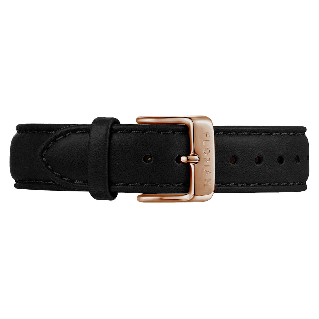 Classic Eagle Black Leather Strap Rosy Gold Buckle | 16mm