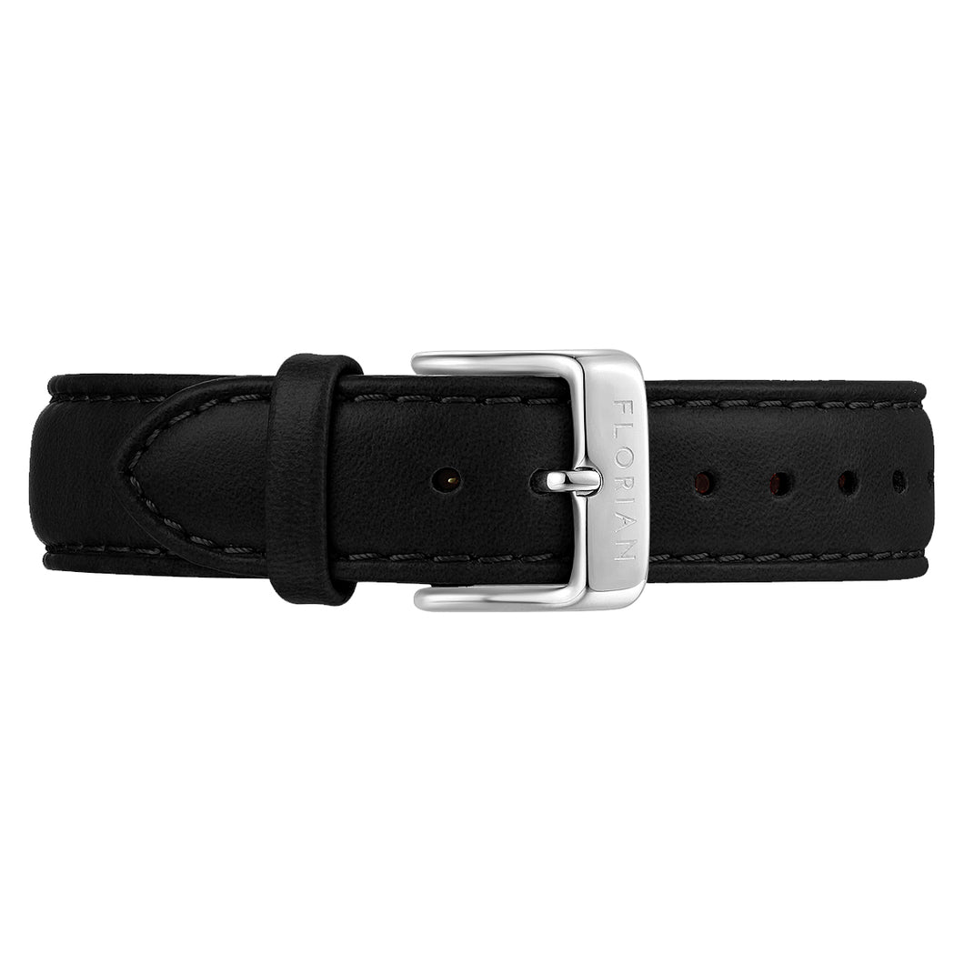 Classic Eagle Black Leather Strap Silver Chic Buckle | 16mm