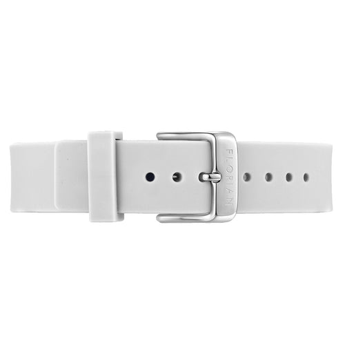 Classic Pure White Silicon Strap Silver Chic Buckle | 16mm