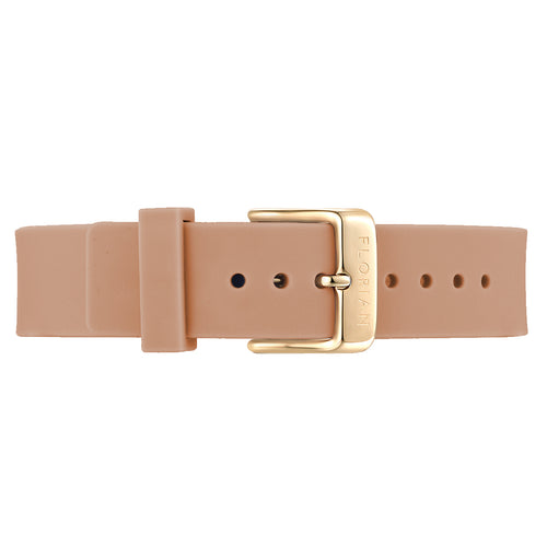 Classic Sea Coral Silicon Strap Champagne Gold Buckle | 16mm