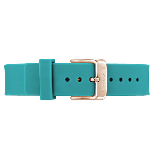 Classic Aqua Green Silicon Strap Rosy Gold Buckle | 16mm
