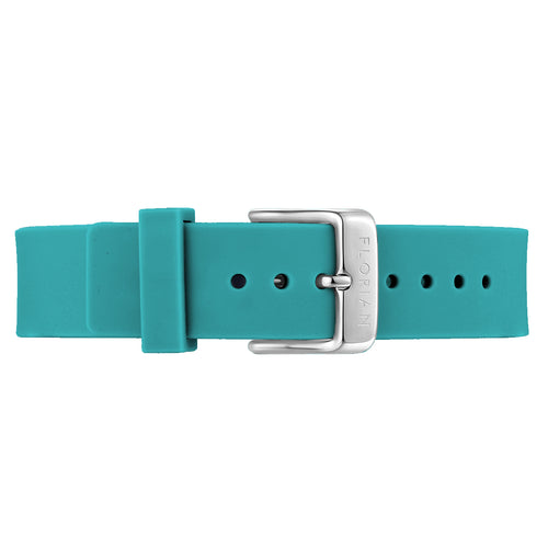 Classic Aqua Green Silicon Strap Silver Chic Buckle | 16mm