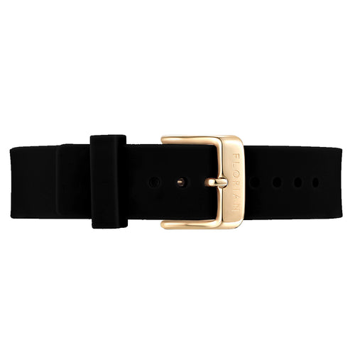 Classic Pure Black Silicon Strap Champagne Gold Buckle | 16mm