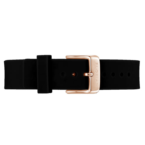 Classic Pure Black Silicon Strap Rosy Gold Buckle | 16mm
