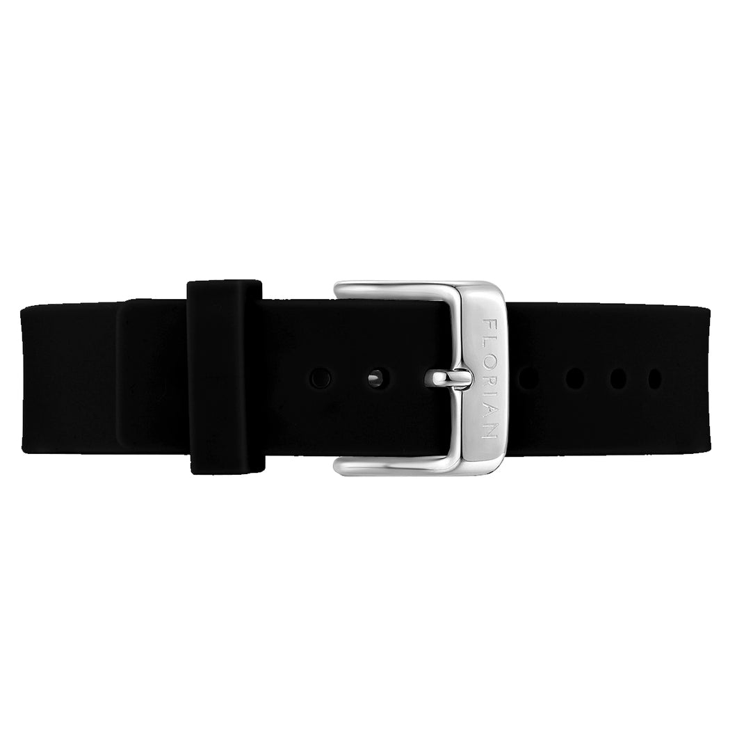Classic Pure Black Silicon Strap Silver Chic Buckle | 16mm