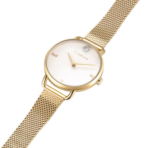Pure Diamond Champagne Gold Mesh Watch | 30mm