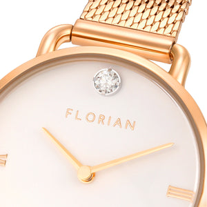 Pure Diamond Rosy Gold Mesh Watch | 30mm