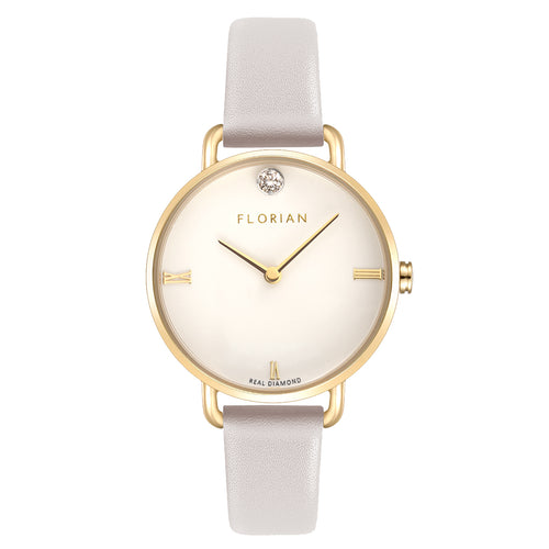 Pure Diamond Champagne Gold Snow White Strap Watch | 30mm