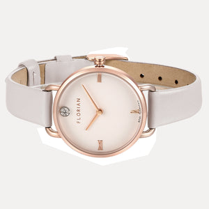 Pure Diamond Rosy Gold Snow White Strap Watch | 30mm