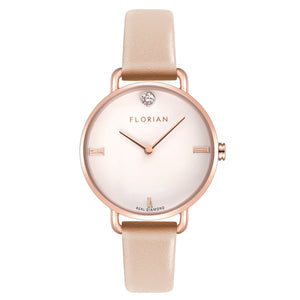 Pure Diamond Rosy Gold Salmon Pink Strap Watch | 30mm