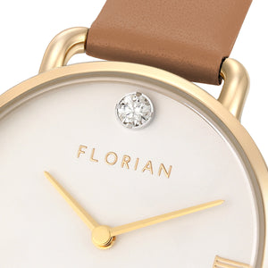 Pure Diamond Champagne Gold Tenne Brown Strap Watch | 30mm