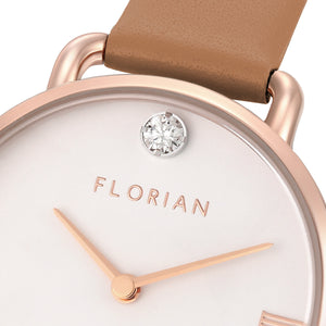 Pure Diamond Rosy Gold Tenne Brown Strap Watch | 30mm
