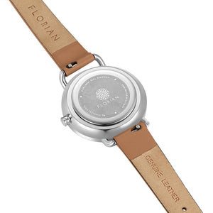 Pure Diamond Silver Chic Tenne Brown Strap Watch | 30mm