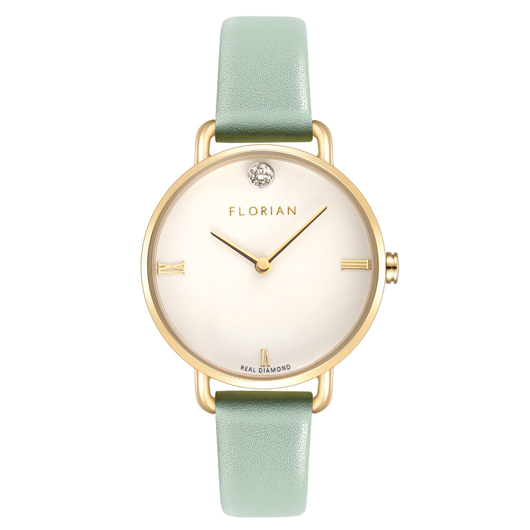 Pure Diamond Pistachio Green and Champagne Gold Watch | 30mm
