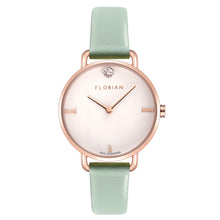 Pure Diamond Rosy Gold Pistachio Green Strap Watch | 30mm